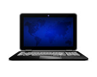 Laptop with world ma screen  isolated over white. Laptop computer with world map screen isolated over white background Royalty Free Stock Image
