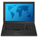 Laptop with world map. Black laptop with world map Royalty Free Stock Images
