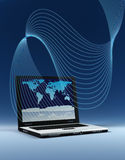 Laptop with world map Stock Photo