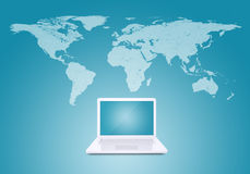 Laptop and world map. Laptop against world map background. Connections and network Stock Photos
