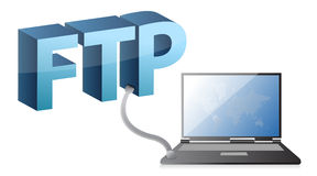 Laptop with world map connected to FTP. Illustration design over white Royalty Free Stock Images