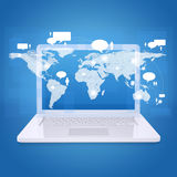 Laptop and world map with contacts Stock Images