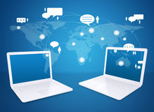 Laptop and world map with contacts Stock Photography