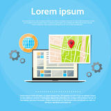 Laptop World Map Gps Globe Navigation Royalty Free Stock Photo