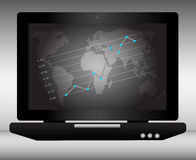 Laptop with world map and graph with points Royalty Free Stock Photos