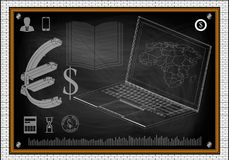 Laptop world map. Laptop, world map and book on blackboard. Dollar and euro icon Stock Images