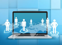 Laptop and world map with people standing on. Hexagonal pedestals Royalty Free Stock Photography