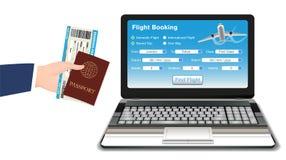 Laptop with world travel landmark on white backgroundlaptop online flight booking with ticket passport Stock Photo