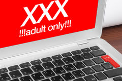 Laptop with XXX message Royalty Free Stock Images