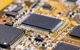 Laptop yellow motherboard with video card Stock Images