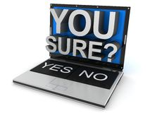 Laptop yes or no Royalty Free Stock Photo