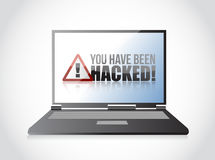 Laptop, You Have Been Hacked Sign Stock Photo