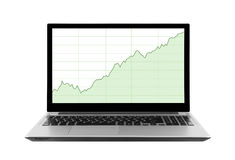 Laptop z akcyjnymi mapami Obrazy Stock