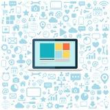 Laptop z błękitnymi sieci ikonami ustawiać Płaska wektorowa ilustracja Zdjęcie Royalty Free