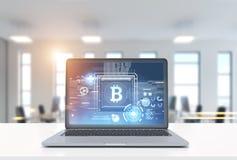 Laptop z bitcoin symbolem w biurze ilustracji