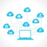 Laptop z biznesową ikoną Fotografia Stock