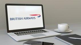 Laptop z British Airways logem na ekranie Nowożytnego miejsca pracy artykułu wstępnego 3D konceptualny rendering ilustracji