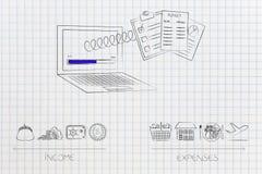 Laptop z budżetować dokumenty z ekranu na wiośnie Fotografia Stock