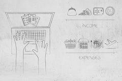Laptop z budżetować dokumenty na ekranie obok dochodu ic Obraz Stock