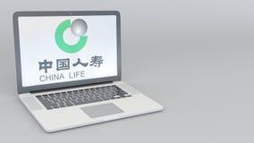 Laptop z China Life firmy ubezpieczeniowej logem Informatyka artykułu wstępnego 3D konceptualny rendering Zdjęcia Royalty Free