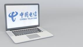 Laptop z China Telecom logem Informatyka artykułu wstępnego 3D konceptualny rendering Zdjęcie Stock