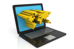 Laptop z 3d wyrzuconą Światową mapą na ekranie Fotografia Stock