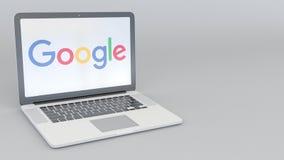 Laptop z Google logem Informatyka artykułu wstępnego 3D konceptualny rendering Fotografia Royalty Free