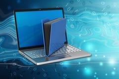 Laptop z kartoteki falcówką Obrazy Royalty Free