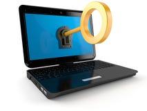 Laptop z kluczem royalty ilustracja