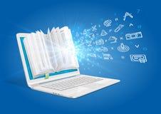 Laptop z książką pokazuje magię wiedza Pojęcie nauczanie online royalty ilustracja