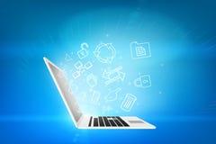 Laptop z matrycowym tłem Obraz Stock