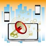 Laptop z megafonem, przyszłościowa technologia dla żyć Zdjęcie Stock