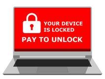 Laptop z okno zabezpiecza dostęp po komputeru atakował ransomware zdjęcie stock