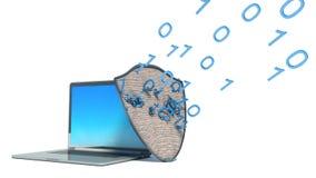 Laptop z osłoną - internet ochrona, antivirus royalty ilustracja