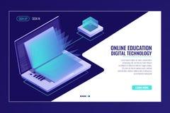 Laptop z otwartą książką, uczy się online edukaci pojęcie, elektron biblioteka, ewidencyjny gmeranie isometric royalty ilustracja