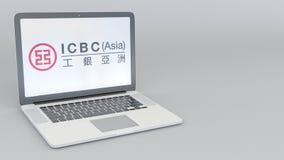 Laptop z Przemysłowym i Commercial Bank Porcelanowy ICBC logo Informatyka artykułu wstępnego 3D konceptualny rendering Zdjęcia Royalty Free