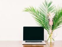 Laptop z pustym czerń ekranem obrazy royalty free