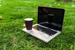 Laptop z pustym ekranem na zielonej trawie Kawa i szkła nietypowy zdjęcia royalty free