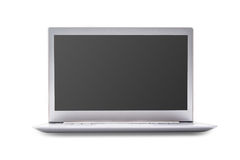 Laptop z pustym ekranem odizolowywającym na białym tle, biały alu zdjęcie royalty free