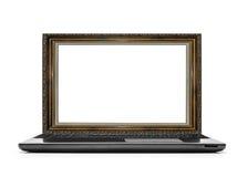 Laptop z ramą dla obrazka zamiast monitoru Zdjęcia Stock