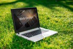 Laptop z reklama ekranem na tło zielonej trawie, plenerowy biuro Projekta pojęcie banknot żarówki pomysł interesy światło fotografia royalty free