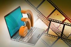 Laptop z rss ikoną Zdjęcie Stock