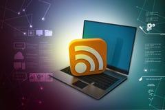 Laptop z rss znakiem Fotografia Stock