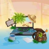 Laptop z seascape Zdjęcia Royalty Free