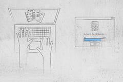 Laptop z stats dokumentami na ekranie obok budżetować w p Zdjęcie Royalty Free