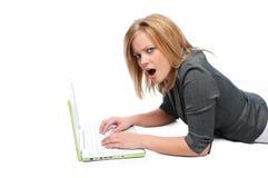 laptopa bizneswomanu komputerowych young Zdjęcia Stock