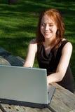 laptopa na piknik Obrazy Royalty Free