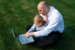 laptopa syn ojca Fotografia Stock
