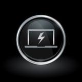 Laptopbolzen-Blitzikone innerhalb des runden Silbers und des schwarzen Emblems Stockbild