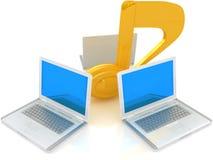 Laptope und Anmerkung Stockbilder